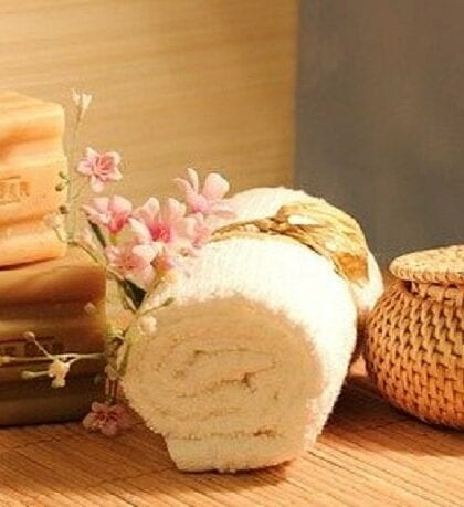 soap towel and other spa items