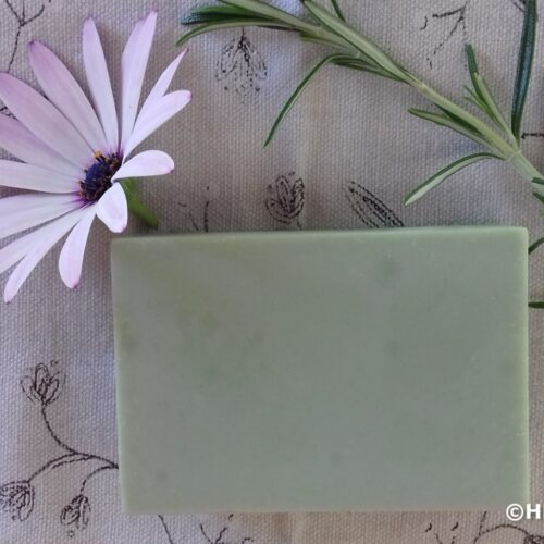 French green clay olive oil soap with rosemary for decoration