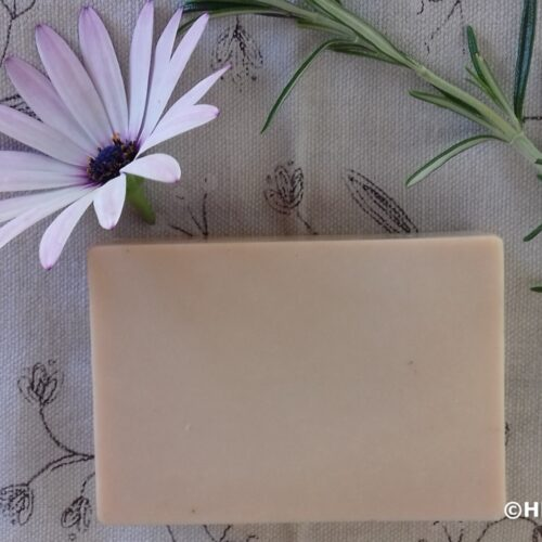 Pink clay olive oil soap with rosemary for decoration