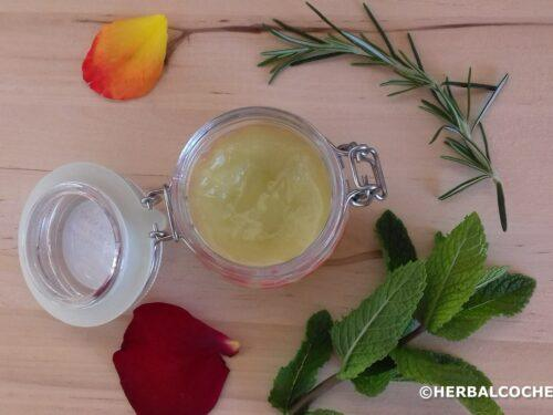 Healing salve in a glass jar with lid