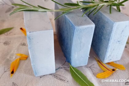 Three cold process soap bars with presentation