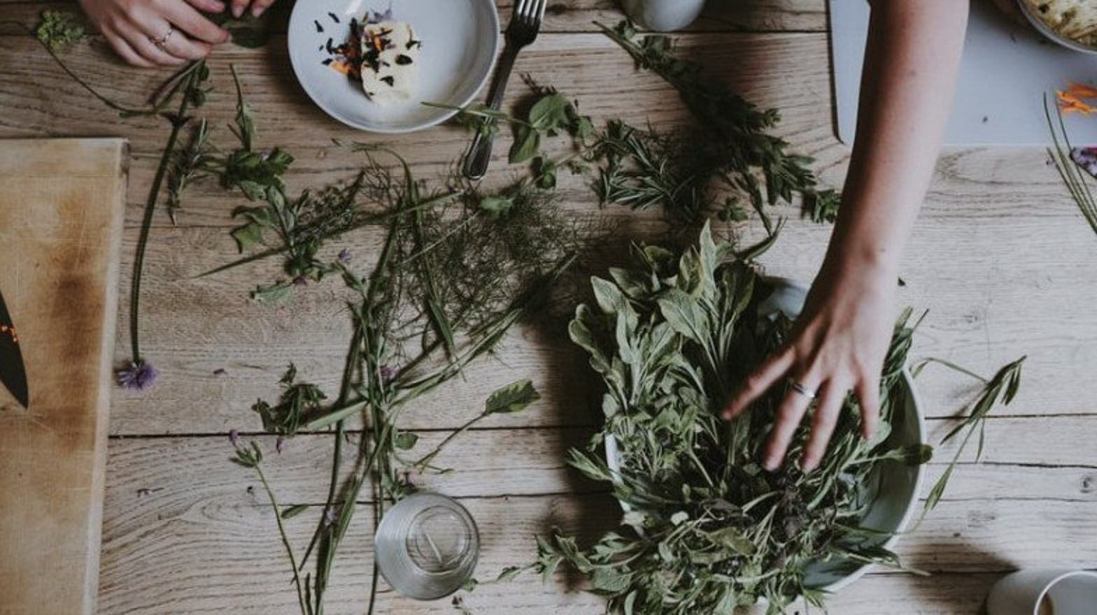 preparing and organizing dried herbs over a wooden counter