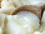 wooden spoon with white lard