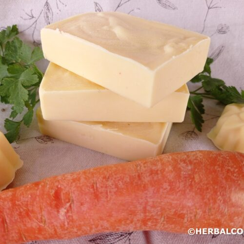 pile of 3 carrot soaps colored with carrot, carrot decoration