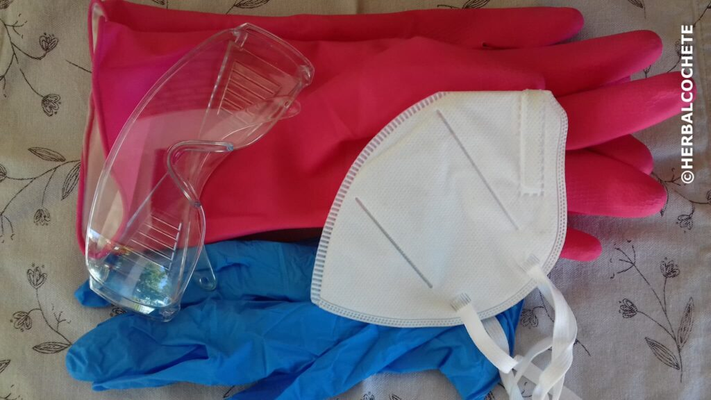 gloves, goggles and maks to safely make soap at home