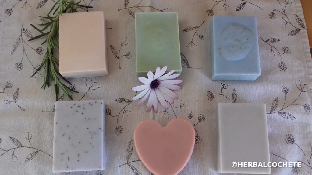 homemade soap bars of various colors