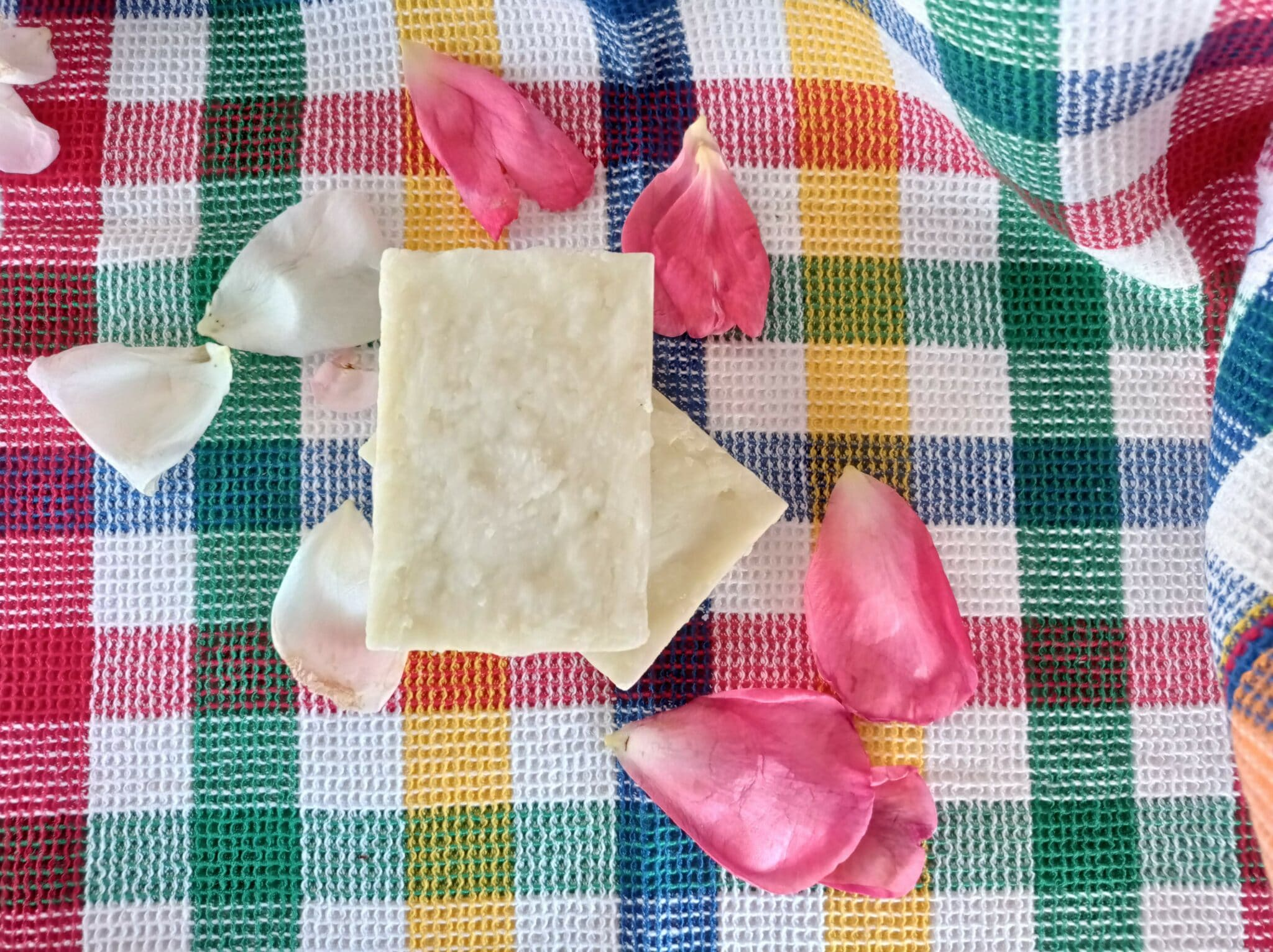 Two bars of white homemade intimate soap for women, scented with tea tree, decorated with rose petals